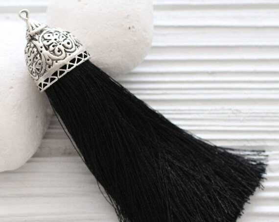 Extra large black silk tassel with rustic silver tassel cap, thick black tassel, silk tassels, decorative, necklace tassel pendant,tribal,N8