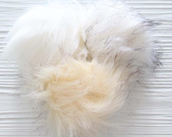 """Ivory faux fur pom pom, 5"""" beige pom poms for hats keychains purses bridal shower, beanie pom poms, latte brown pom pom, large pom pom,N2"""