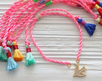 Neon pink cord bracelet with tassels, rose friendship bracelet blank, DIY cord bracelet blank, semi-ready bracelet, string bracelet, N33
