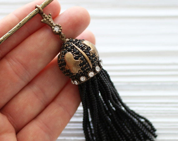 Black bead tassel pendant, black beaded tassel with black and clear rhinestone antique cap, ornate tassel, antique tassel, statement tassel