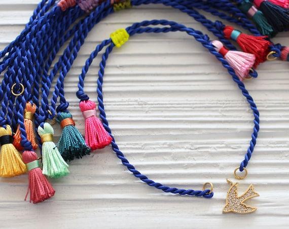 Cobalt blue friendship bracelet blank, blue cord bracelet with tassels, DIY cord bracelet blank, semi-ready bracelet, string bracelet, N16
