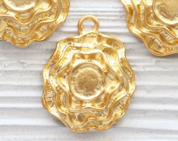 Spiral pendant gold, tribal pendant, gold round pendant with bezel setting, hammered pendant, large hole pendant, rustic medallion, dangle