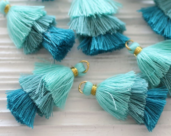 Layered tassels, teal blue multi layer tassels, earrings tassels, jewelry necklace tassels, keychain tassel, tassel charm, dangle tassel, N6