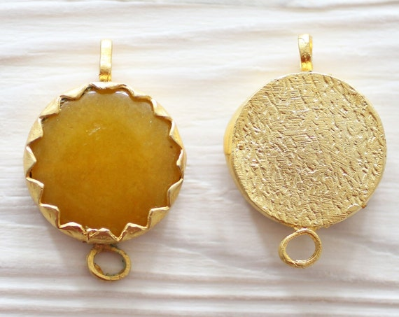 Golden yellow jade connector, gold bezel connector, double bail gem stone connector, large round gemstone, amber jade connector pendant