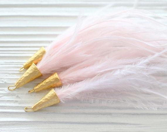 Blush pink feather tassel, pink tassel, blush feather earrings tassel, jewelry tassels with gold cap, necklace tassel, purse tassels, N35