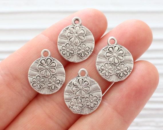 10pc large round silver charm pendant, large silver charms, silver findings, bracelet earrings dangle,rustic boho mini daisy pendant, flower