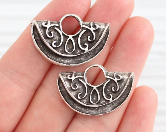 2pc crescent moon charms, tribal pendant, earring charms silver, large metal charms, earrings dangles, large hole pendant, half moon charms