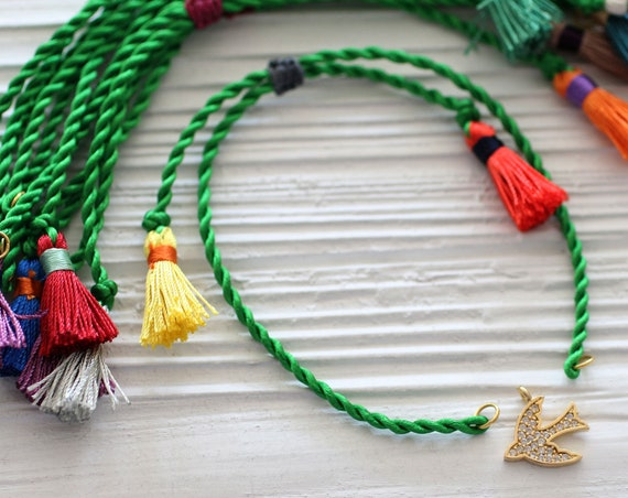 Green cord bracelet with tassels, DIY cord bracelet blank, semi-ready bracelet, adjustable emerald friendship bracelet, string bracelet, N40