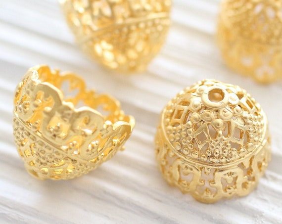 2pc large gold filigree tassel cap, gold bead caps, bead cones, end caps, gold cones, filigree tassel cap, ornate tassel cap, gold end cap