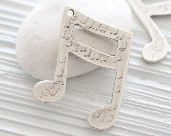 Large silver music note pendant, music notes, music pendant, large silver music note, large pendants, unique pendant, rustic pendant