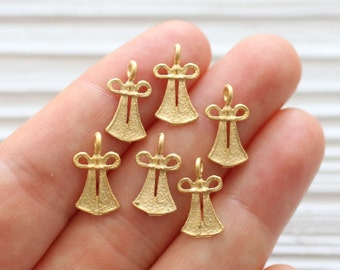 10pc matte gold angel charms, gold angel beads, earring charms, gold beads, mini gold angel pendant, bracelet charms, tribal charms, dangles