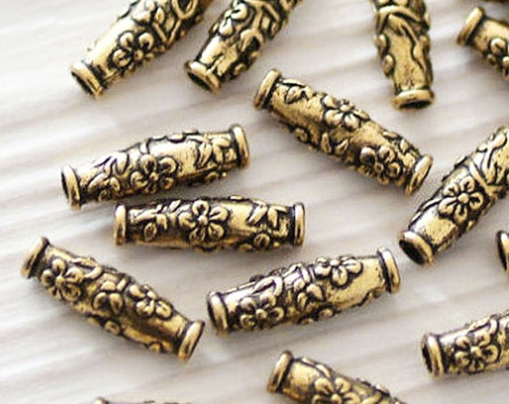 4pc antique gold tube beads, barrel beads, tribal beads, metal beads, large hole beads, gold beads, TierraCast, gold spacers, bracelet beads