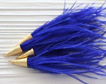 Cobalt feather tassel, blue feather tassel, jewelry tassels, feather earrings tassel, tassels with gold cap, necklace, purse tassels, N16