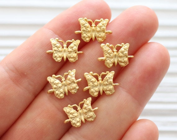 10pc gold butterfly charm, butterfly connector, gold connector, butterfly beads, earring beads, animal beads, bracelet components, dangles