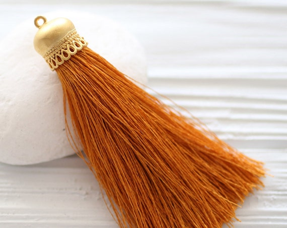 Copper silk tassel with gold tassel cap, dark mustard silk tassel, thick silk tassel, tassel, silk necklace tassel, tassel pendant, N56