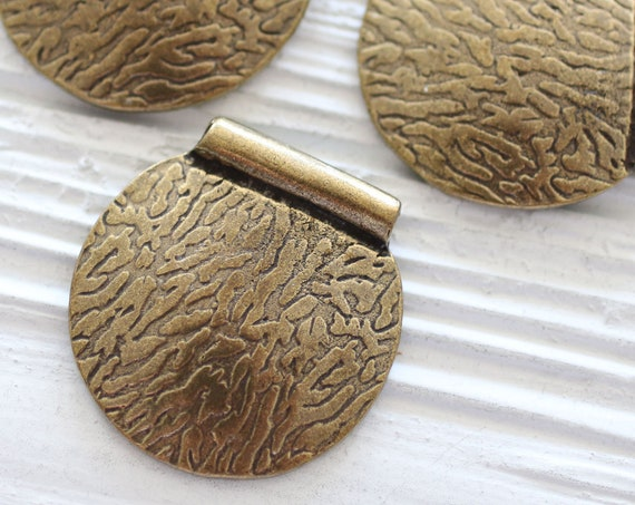 Round hammered pendant, round pendant, antique gold, metal necklace pendant, focal pendant, tribal pendant, rustic, big dangle pendant