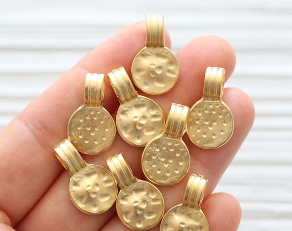 5pc large gold tribal charms, round disc tribal pendant, bracelet earrings dangle, gold metal beads charms, large hole gold beads, hammered
