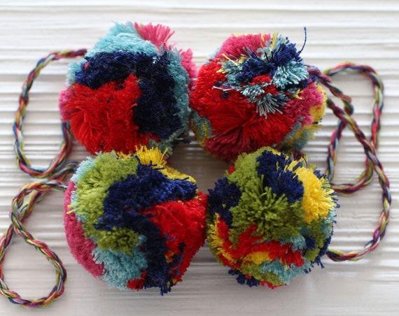 "Large pom pom purse charm, 2"" garland pom poms, multicolor, puff pom poms for beanie hats keychains bag dresser nursery decor curtains car"
