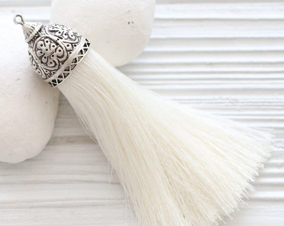 Extra large ivory silk tassel with rustic silver tassel cap, thick silk tassel, jewelry tassel, decorative,necklace tassel pendant, pearl,N2