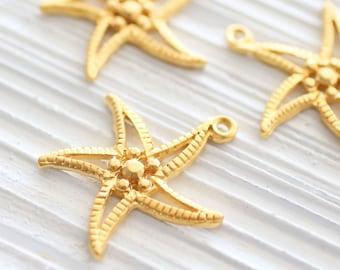 2pc gold starfish pendant charm, star pendant, starfish charm, sea pendants, starfish, hammered pendant, gold earring charms, star dangles