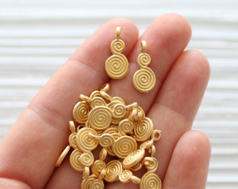 10pc spiral charm, matte gold spiral earrings charms, tribal charms, bracelet charms, gold charms, just dangles, metal charms, gold beads