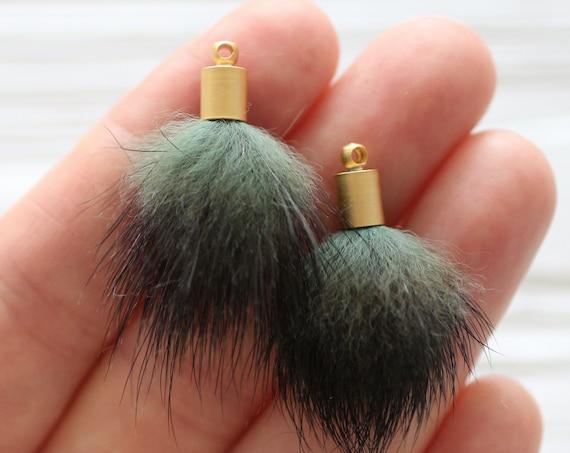 2pc green melange faux fur pom poms tassels for earrings, green pom pom tassel, pom pom keychain tassel, purse charm, necklace charm, N53