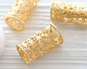 Gold filigree tube pendant, unique filigree findings, gold rondelle pendant, large tube bead, gold tube charm, focal flower barrel pendant