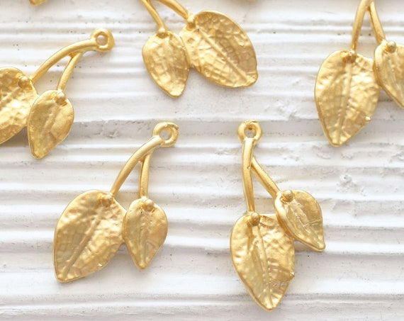 2pc leaf charms gold, earring charms gold, leaf branch charm, flower branch pendant gold, earrings charm, leaf pendant, just dangles