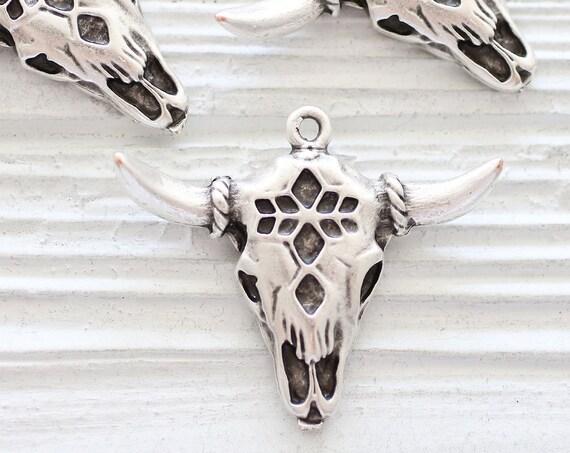 Bull pendant silver, longhorn, ornate bull skull pendant, tribal bull pendant, animal pendant, bull necklace focal pendant, earrings charm