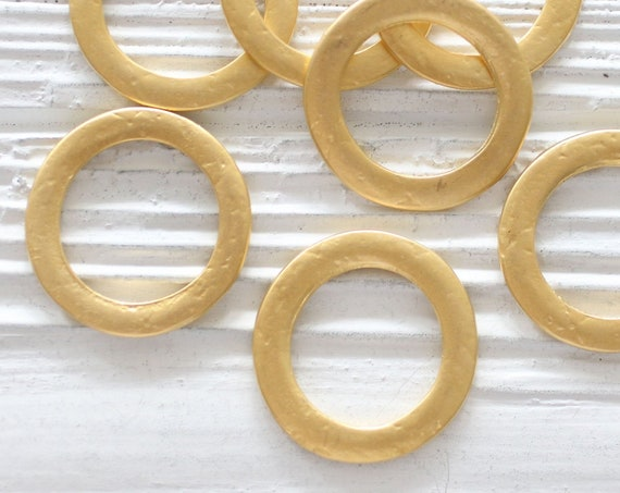 4pc circle pendant gold, ring connector pendant, round jewelry link, hammered necklace connectors, earrings hoops, loop pendant