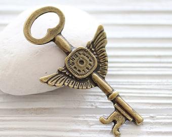 Key pendant, angle wings, antique gold key, key medallion, rustic key, large key pendant, clock pendant, vintage and old look key pendant