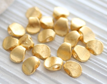 10pc matte gold mini beads, earring charms, gold beads, metal beads, rustic charms, gold charms, bracelet charms, large hole charms, dangles