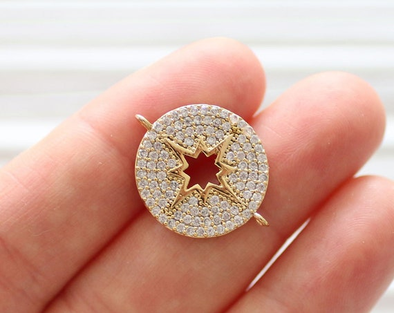 Pave compass pendant connector, rhinestone compass dangle pendant, pave charms, rhinestone pave beads, earrings dangle, pave necklace charms