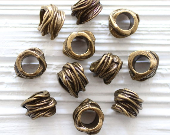 5pc large hole beads, large metal beads, bead spacers, antique beads, bracelet beads, tube beads, tribal beads, antique gold rondelle,rustic