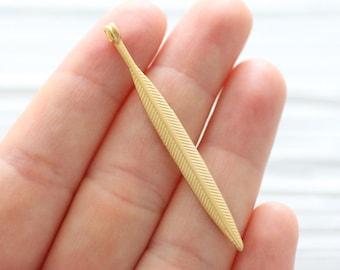 Matte gold leaf pendant, flat gold leaf, hammered pendant, gold leaf charm, dangles, gold earring charms, leaf, flower, long dainty leaf