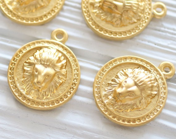 Lion pendant gold, lion coin, lion jewelry findings, filigree, animal pendant, lion, earrings charm, lion head charm, lion dangle pendant