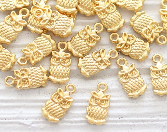 10pc gold owl charm, earrings pendant charms, owl dangle charm, animal charms, owl charms gold, charms for bracelets, necklace charms, S