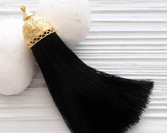 Extra large black silk tassel with rustic gold tassel cap, thick silk tassel, gold cap tassel, black, DIY, tassel pendant, mala tassel, N8