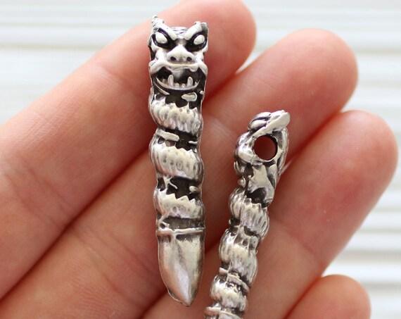 Dragon pendant, large hole pendant, antique silver pendant, animal pendant, dragon, silver dragon necklace pendant, stick dragon pendant