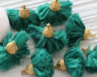 Emerald green sari silk tassel, pom pom tassel, tassel with gold cap, forest green tassel, purse, earrings necklace tassel dangle, decor,N55