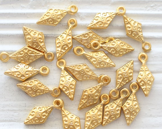 10pc spike charms gold, stick charms, filigree beads, spike dangles, tribal charms, dangle charms, bracelet earring charms, drop charm