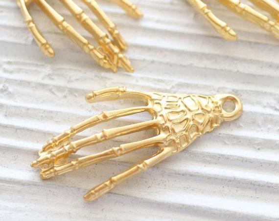 2pc skeleton pendant, gold skeleton hand charms, Halloween pendant gold, skeleton charm, filigree, Halloween jewelry, Halloween charms