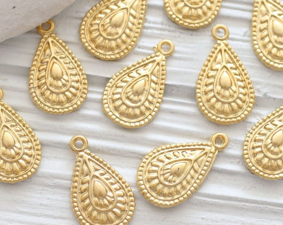 10pc tear drop charms, gold charms, oval drop charm pendant, earrings dangle charm, necklace charms gold, rustic tribal charms, hammered