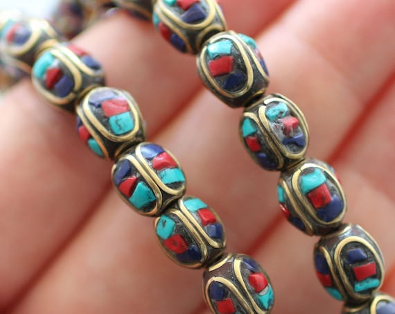 3pc gemstone beads, Nepal beads, ethnic tribal mala beads, Tibetan beads, lapis coral turquoise inlay brass beads, focal beads, loose beads