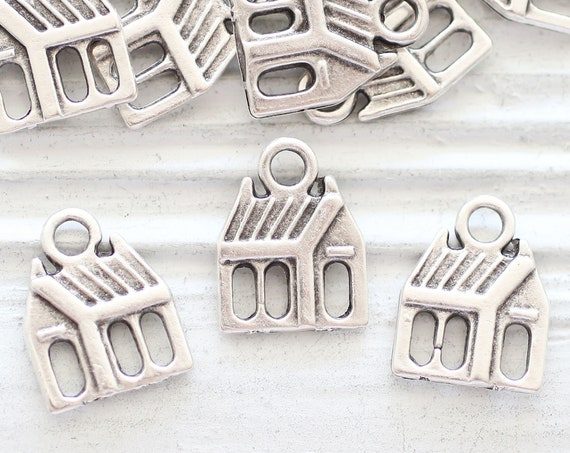 5pc house charms silver, sweet home charms, large hole silver charms, home sweet home, keychain charms, bracelet charms, realtor charms