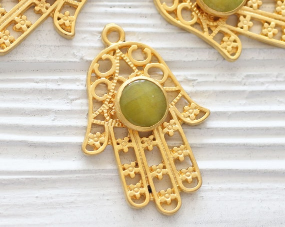 Gold Hamsa pendant with green gemstone, lime green jade pendant, filigree Hamsa pendant, gemstone pendant, filigree jade pendant