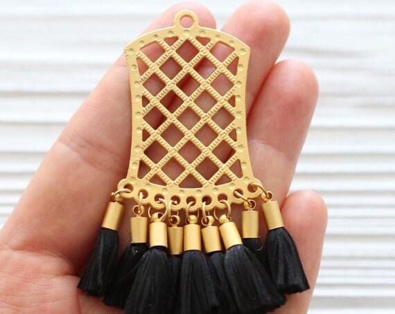 Gold filigree pendant with black tassels, earring dangle, tribal tassel pendant, filigree findings, dangle pendant, filigre, black pendant