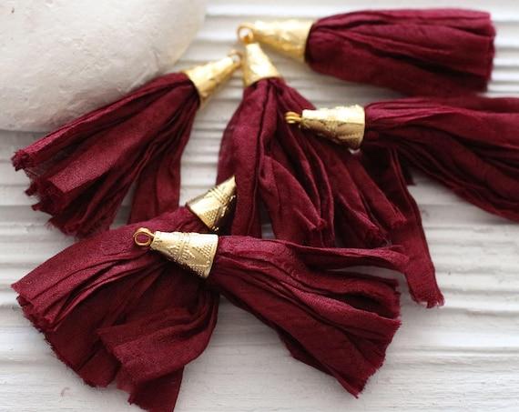 Burgundy sari silk tassel, short sari silk tassel, burgundy sari silk, gold cap silk tassel, maroon silk tassel, jewelry earrings tassel,N59