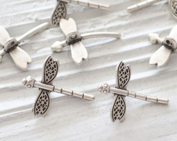 5pc dragonfly charm, earring charms silver, dragonfly, silver charms, animal charms, large necklace charms, just dangles