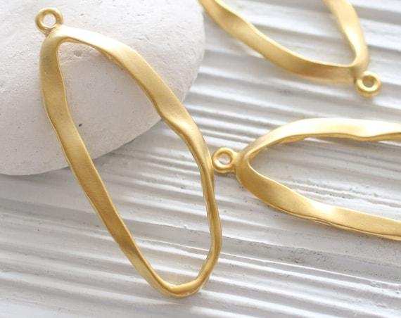 Organic shaped oval pendant gold, earrings hoops oval, earring oval loop, gold hoops, oval focal pendant, large earrings dangle charm